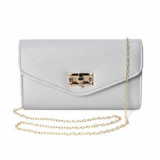 Light Gray Small Size Clutch Bag with Detachable Shoulder Chain for Women Ladies
