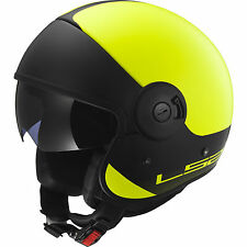 LS2 OF597 CABRIO FIBREGLASS RETRO HELMET WITH SUN VISOR,LARGE, MATT YELLOW / BLK