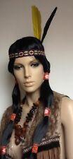 Indian Long Black Fancy Dress Wig + Two Feather Woven HeadBand.