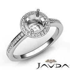 1 Carat Halo Pave Set Diamond Engagement Round Semi Mount Classic Ring Platinum