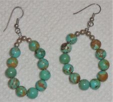 Green turquoise and sterling beads Santo Domingo Native American earrings