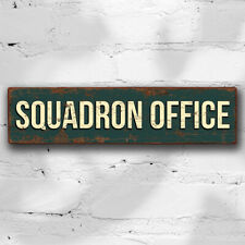 More details for squadron office 40cm wood sign military vintage style raf wall plaque war