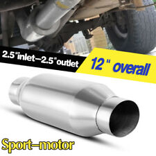 "Straight Through Performance 2.5"" Inlet/Outlet 4"" Round Body Muffler Silencer"