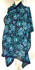 Burberry lujo bufanda PAÑUELO scarf Carré платок 100% silk 170x70 PVP 279 € azul