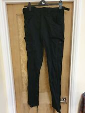 Mens Black Cargo Trousers Size 32 Waist