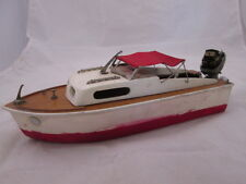 """12-1/2"""" Long Wood Model Boat w/ Electric Motor Red Fabric Canopy"""