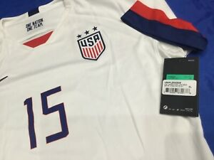 USA WOMENS SOCCER Genuine Nike JERSEY Home White # 15 RAPINOE Womens XL NWT