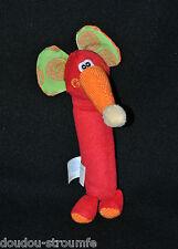 Peluche Doudou Eléphant PLAYGRO Rouge Trompe Orange Pouet 17 Cm TTBE