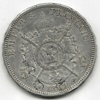 Francia 5 Francos 1869 BB  Strasbourg Napoleon III plata  @ BELLA @