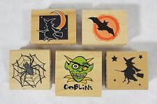 Lot of 5 New Canadian Maple Halloween WITCHES SPIDERS Wood Mounted Rubber Stamps