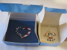 New Avon Jewelry American Pride Heart Pin 2004 & Patriotic Angel Pin 2007