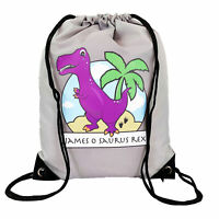 Personalised Purple T-Rex Drawstring Grey PE Bag Kids Swimming Gym Kit School