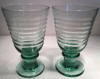 "Lot Of 2~6 1/4"" Libbeys Rock Sharpe Sirius Light Green Glass Goblets 14oz"