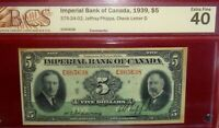 1939 $5  IMPERIAL BANK  CANADA  CHARTERED BANKNOTE