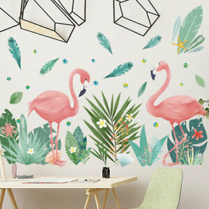 Flamingo Tropical Flowers Leaves  Wall Art Decal Sticker Nursery Decor Art Gift