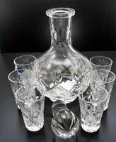 Vodka Set Russian Cut Crystal 12 Oz Carafe Decanter & 6 Crystal Shot Glasses