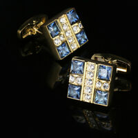 Luxury Blue Crystal Shirt Cufflinks Gold Men's Cufflinks Wedding Cuff Links
