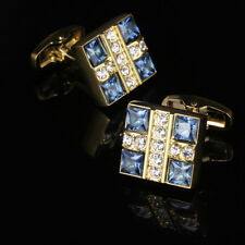 Men's Cufflinks Wedding Cuff Links Luxury Blue Crystal Shirt Cufflinks Gold