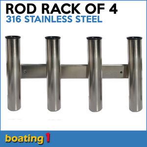 4 Way Rod Combing Rack - 316 Stainless Steel Rod Holder Storage Fishing