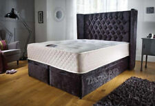 ** Crush Velvet New Ottoman Storage Bed, Wing Headboard FREE Ottoman Box**