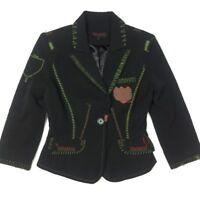 RAW 7 Womens S Black Blazer Jacket Tattoo Patch Contrast Stitch Steampunk Goth
