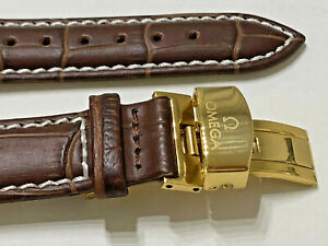 NEW WATCH STRAP Leather 18mm OMEGA Brown SEAMASTER SPEEDMASTER + GIFT