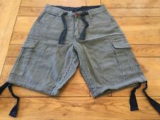 "Men's new striped DRUNKNMUNKY famous 'TABZ' cargo pocket fashion shorts, 32"""