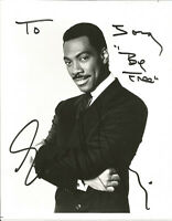 10 x 8  hand signed b/w photo EDDIE MURPHY - AFTAL COA  - dedicated