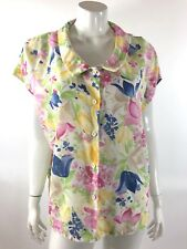 VTG 70s Jonquil Judy Bond Top Size 44 Pastel Pink Yellow Floral Peter Pan Collar