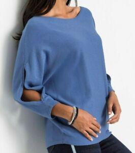 Damen Pullover blau 36 38 40 42 44 46 48 50 56 Strick Cut-Out 049 neu