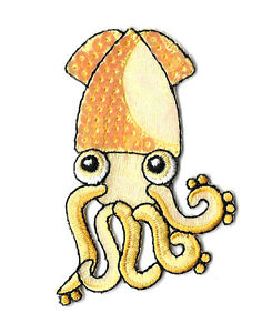 Squid - Ocean - Sea - Yellow W/Sequins - Iron On Applique Patch