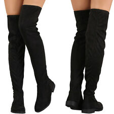 New Black Slouchy Stretch Faux Suede Over The Knee Thigh High Womens Riding Boot