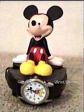2001 DISNEY Mickey Mouse Watch & ICON EARS Full Body Figurine Statue Black Band