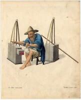 Porzellan-China-Chinese Kupferstich Dadley 1800 Ethnologie-Beruf