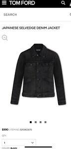 TOM FORD Black Japanese Selvedge Denim Jean Jacket Large New W Tags $990