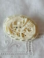 Vintage Chinese Dragon Carved Celluloid Pin Brooch