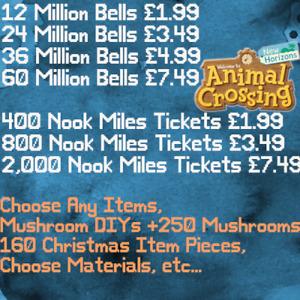 Nook Miles Ticket Bells Fish Bait Mushroom DIY Gift Bags Choose Any Items NMTs