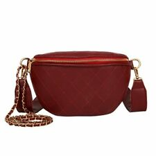 Multi-Use Women Leather Belt Bag Quilted Plaid Phone Pouch Fanny Pack Luxury New
