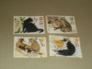1995  4  CATS   STAMPS   USED     LOT  C
