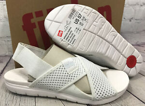 FitFlop Women's Airmesh Sandal Urban White Polyester Shoes Size 7 New With Box