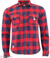 Mens Jacksouth Quality Flannel Lumber Jack Casual 100 Cotton Work Shirt L Red & Navy Check