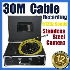 30M Snake Cable UnderWater Sewer Drain Pipe Recording Camera 512HZ Locator Sonde
