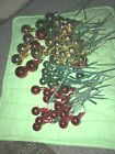 Lot Floral Picks Christmas Balls Red Gold Green Glass