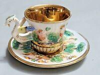 Vintage Italy Capodimonte Demitasse Tea Cup Saucer Raised Decor Pattern