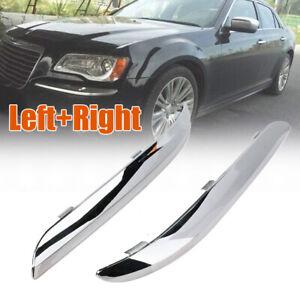 Fits 2011-14 Chrysler 300 Front Bumper Molding Chrome Trim Set LH&RH Accessories