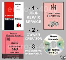 IH Farmall 140 Tractor SHOP, Preventive Maintenance Owners Manual -3- Manuals CD