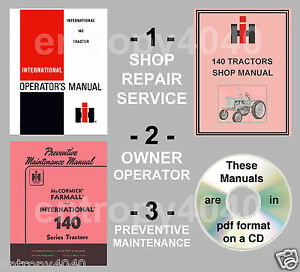 IH Farmall 140 Tractor SHOP, Preventive Maintenance Owners Manual -3- Manuals CD