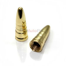 (2) Brass Gold ABS Bullet Tire/Wheel Stem Valve Caps for Motorcycle/Bike/Chopper