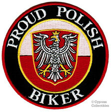 PROUD POLISH BIKER embroidered PATCH POLAND FLAG EMBLEM IRON-ON POLSKA new