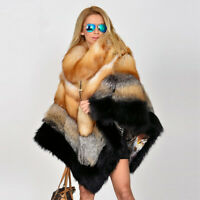 Women's 100% Real Red Fox Fur Cape With Collar Coat Shawl Jacket Poncho Overcoat